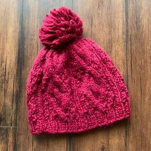 Forever 21 Maroon Winter Beanie Pom Pom Hat